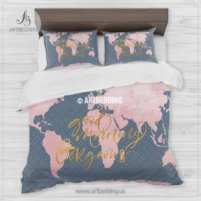 Good Morning Gorgeous gold metallic effect pink world map bedding, Bohemian blue world map duvet cover set, Modern world map comforter set Bedding set