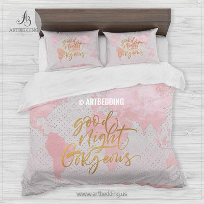 Good Night Gorgeous gold metallic effect pink world map bedding, Bohemian watrcolor pink world map duvet cover set, Modern world map comforter set Bedding set