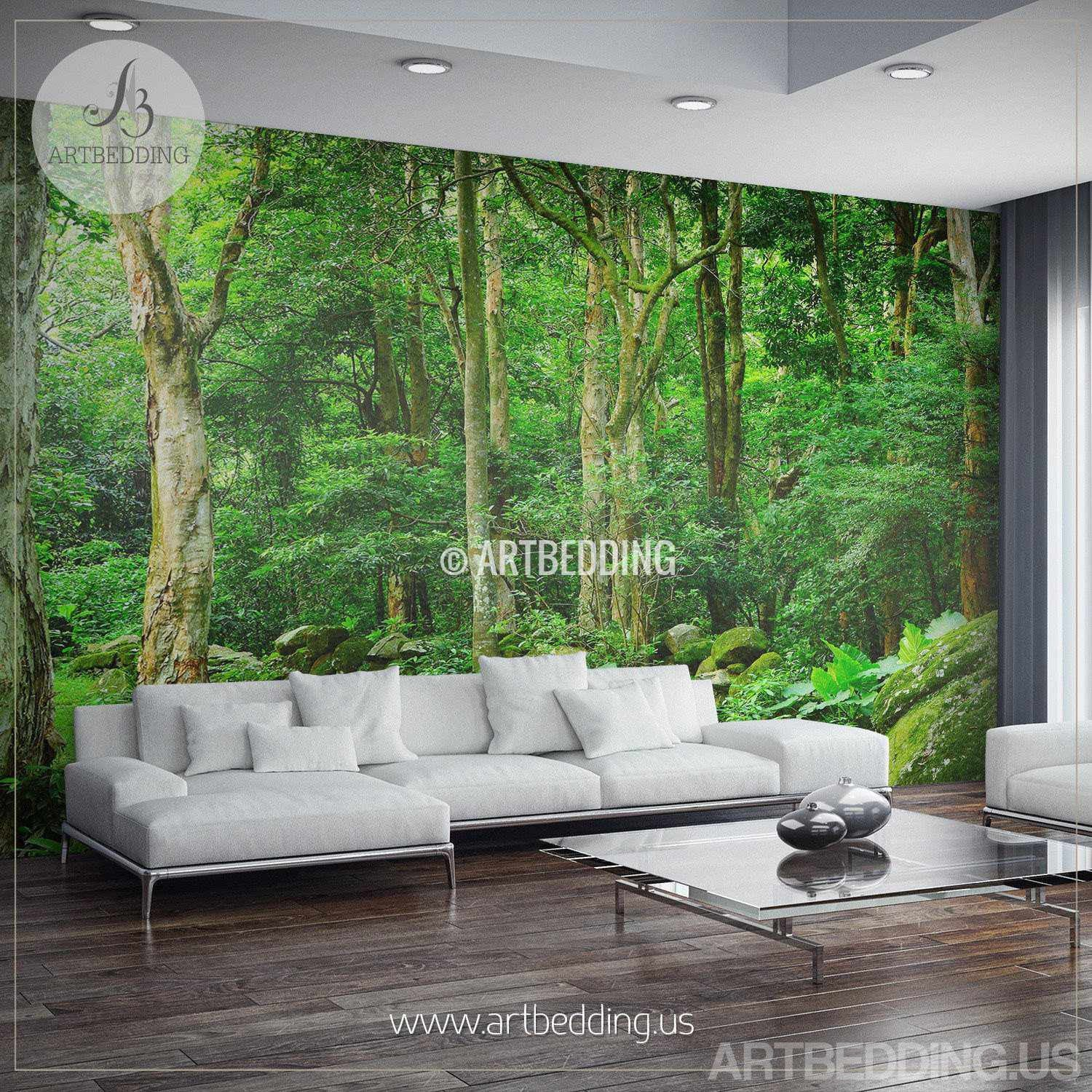 Forest Wall Murals green forest wall mural, photo mural deep green forest self
