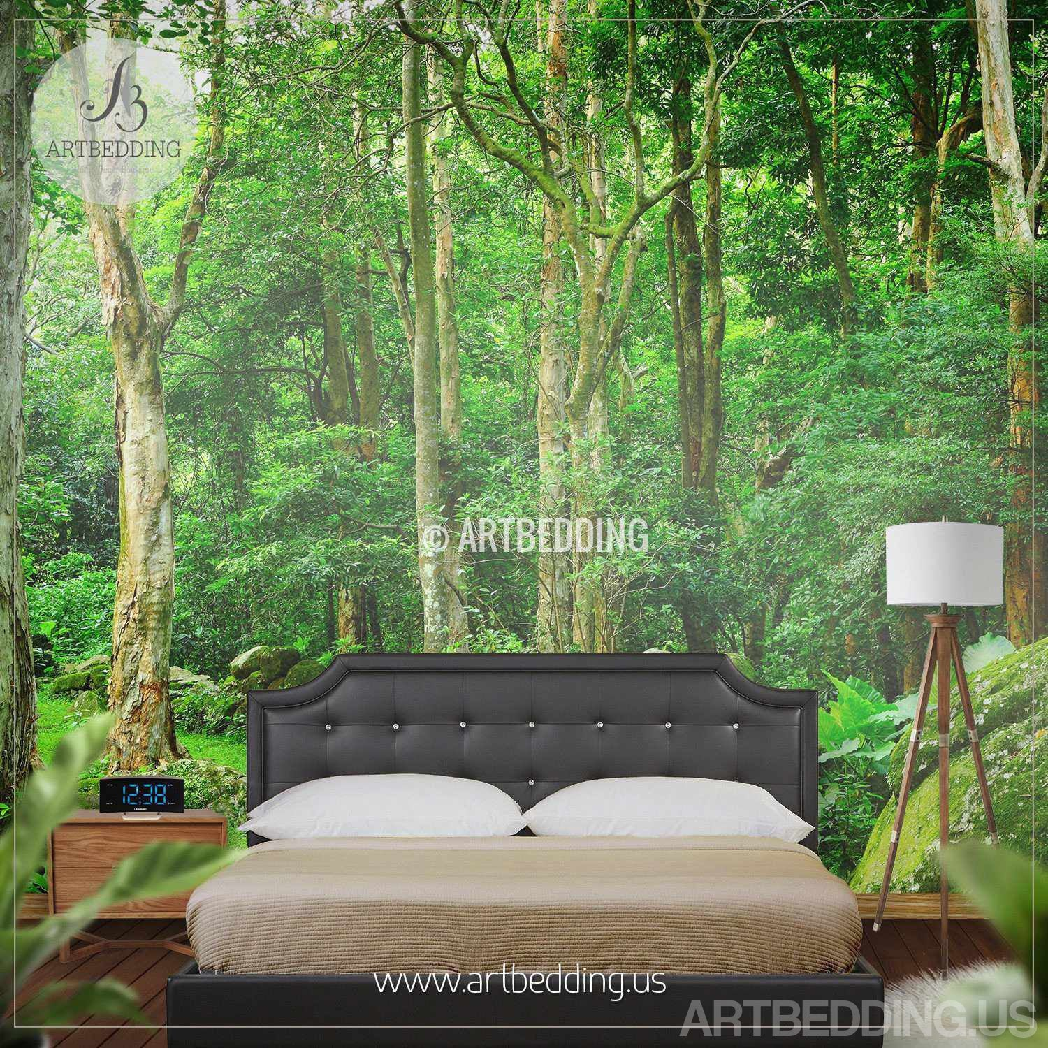 Forest Wall Mural green forest wall mural, photo mural deep green forest self