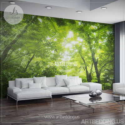 Green forest Wall Mural, Photo Mural Sunbeam through green forest treetop Self Adhesive Peel & Stick, Forest wall mural wall mural