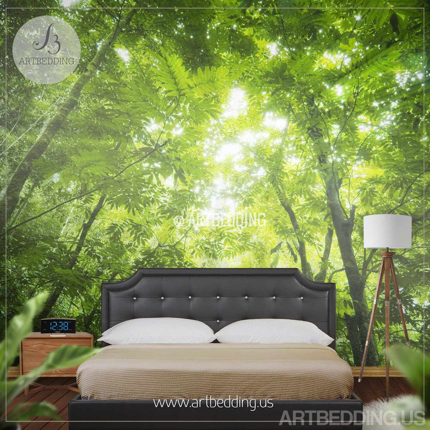 forest wall mural defaultname a u0027forest flooru0027 still green forest wall mural photo mural sunbeam through green forest treetop self adhesive peel
