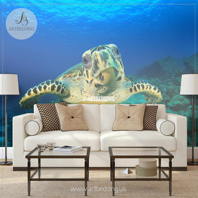 Hawksbill Sea Turtle Underwater Wall Mural, Hawksbill Sea Turtle Self Adhesive Peel & Stick Photo Mural wall mural