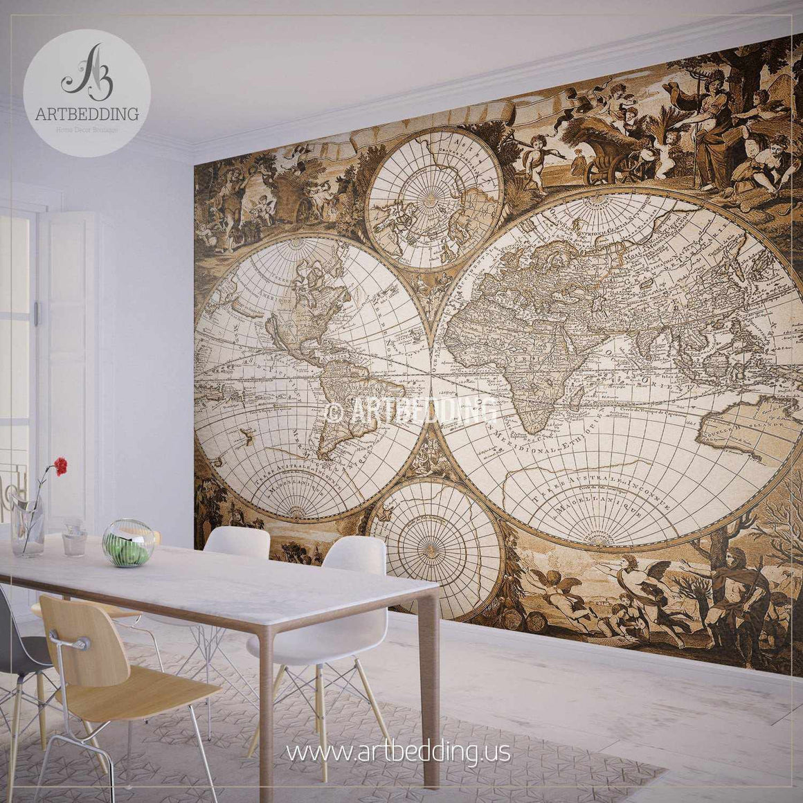 Historic Hemisphere Map Wall Mural, Self Adhesive Peel & Stick Photo Mural, Atlas wall mural, mural home decor wall mural