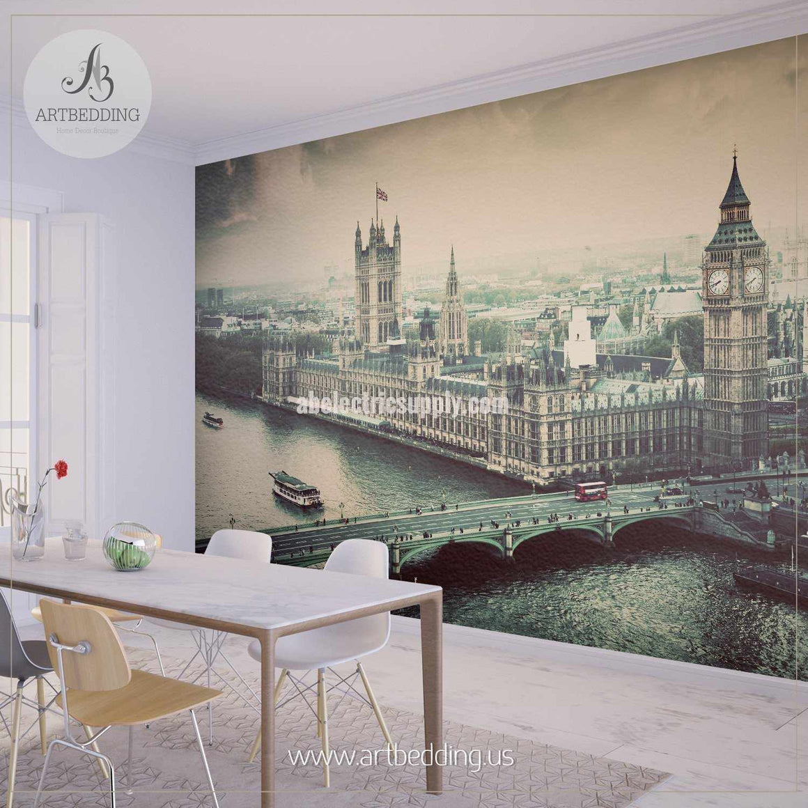 Iconic Big Ben, the Palace of Westminster in Vintage, Retro Style Cityscape Wall Mural, England Photo sticker, England wall decor wall mural