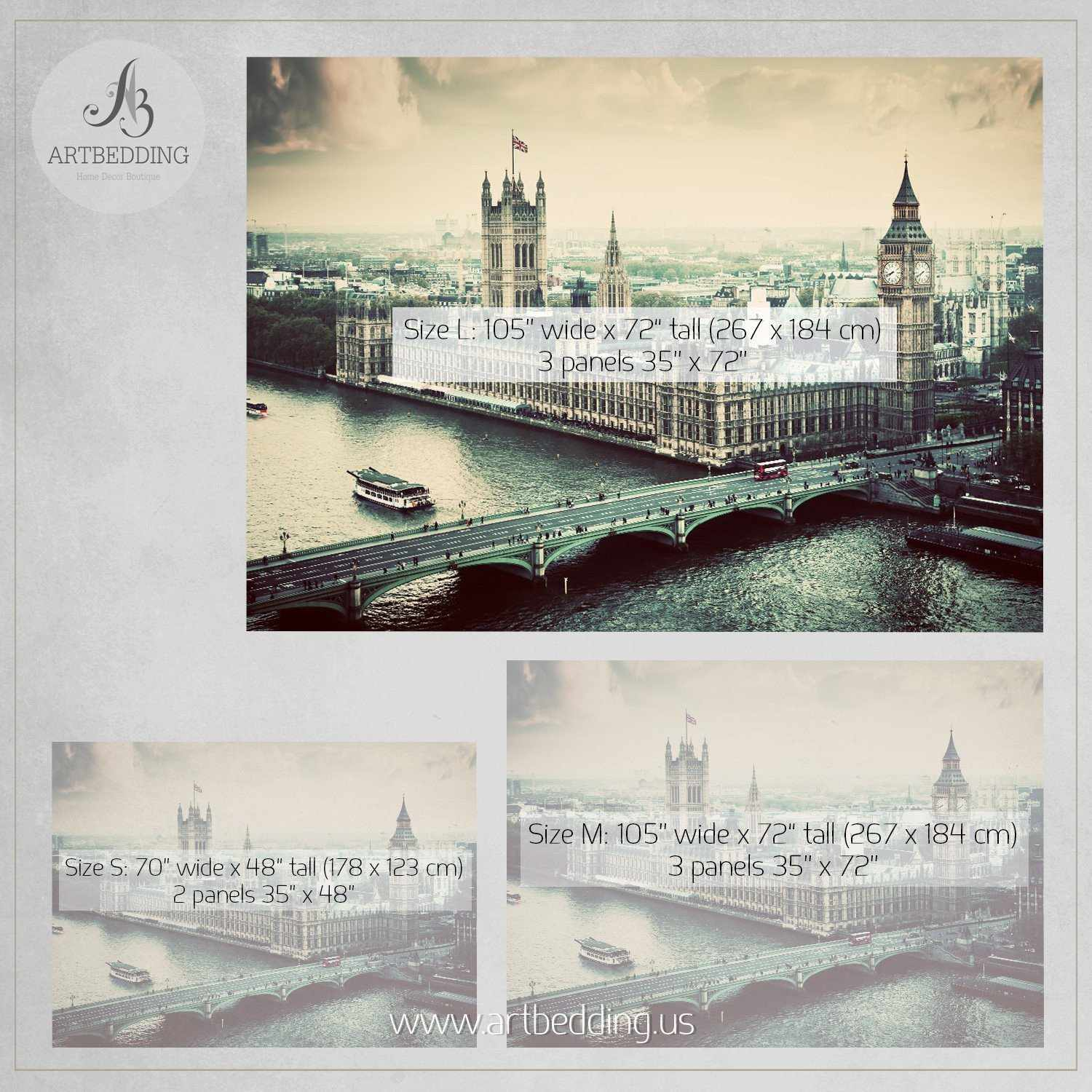 Iconic big ben the palace of westminster in vintage for Cityscape mural