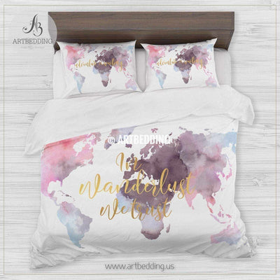 In wanderlust we trust serene watercolor world map bedding, Bohemian wanderlust world map duvet cover set, Modern wanderlust world map comforter set Bedding set