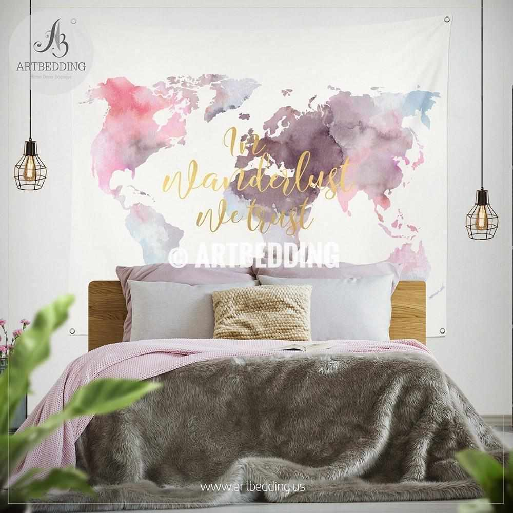 In Wanderlust we trust world map wall Tapestry, Boho watercolor world map wall hanging, bohemian wall tapestries, boho wall decor Tapestry