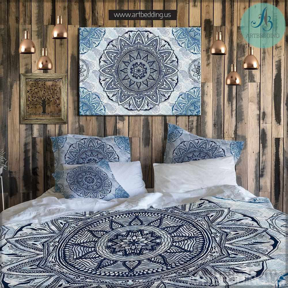 bohemian bedding indian ethnic floral mandala duvet cover set  -  indie ethnic mandala duvet cover set bohemian bedding hand drawnmehndi mandala duvet cover