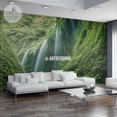 Indonesian Forest Waterfalls Wall Mural, Self Adhesive Peel & Stick wall mural wall mural