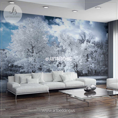 Infrared Landscape with Beautiful White trees and Water Wall Mural, Self Adhesive Peel & Stick wall mural wall mural