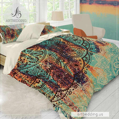 Mandala bedding, Boho green and burnt orange duvet cover set, Ethno Mehendi Henna Madala duvet set, Bohemian bedroom decor-ARTBEDDING