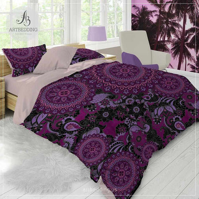 Boho Mandala bedding, Black and plum Mandala duvet cover set, Boho bedding, mandala bedspread-ARTBEDDING