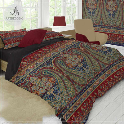 Boho vintage bedding, Indie duvet cover set, Traditional India boho comforter set, boho bedroom decor-ARTBEDDING