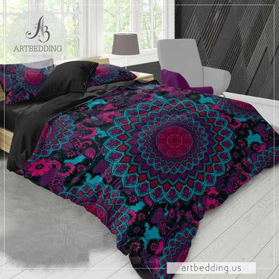 Boho Mandala bedding, Turquoise and fuschia pink Mandala duvet cover set, Boho bedding, mandala bedspread-ARTBEDDING