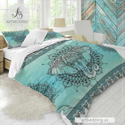 Elephant bedding, Boho unicorn colors elephant mandala duvet cover set, mandala lotus comforter set-ARTBEDDING