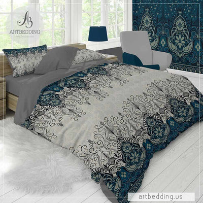 Ethno Indian bedding, Indie teal blue and tan duvet cover set, Traditional India boho comforter set, bohemian bedroom decor-ARTBEDDING