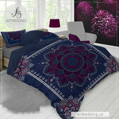 Mandala bedding, Blue and plum Mandala duvet cover set, Henna Mehendy mandala quilt cover set, boho bedspread-ARTBEDDING