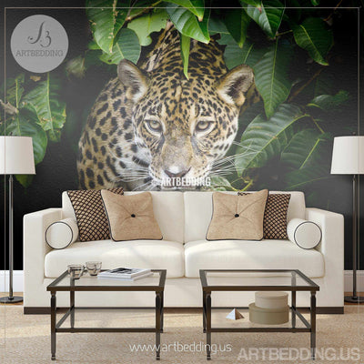 Jaguar Wall Mural, Jaguar Self Adhesive Peel & Stick Photo Mural, Wild Jaguar portrait wallpaper wall mural