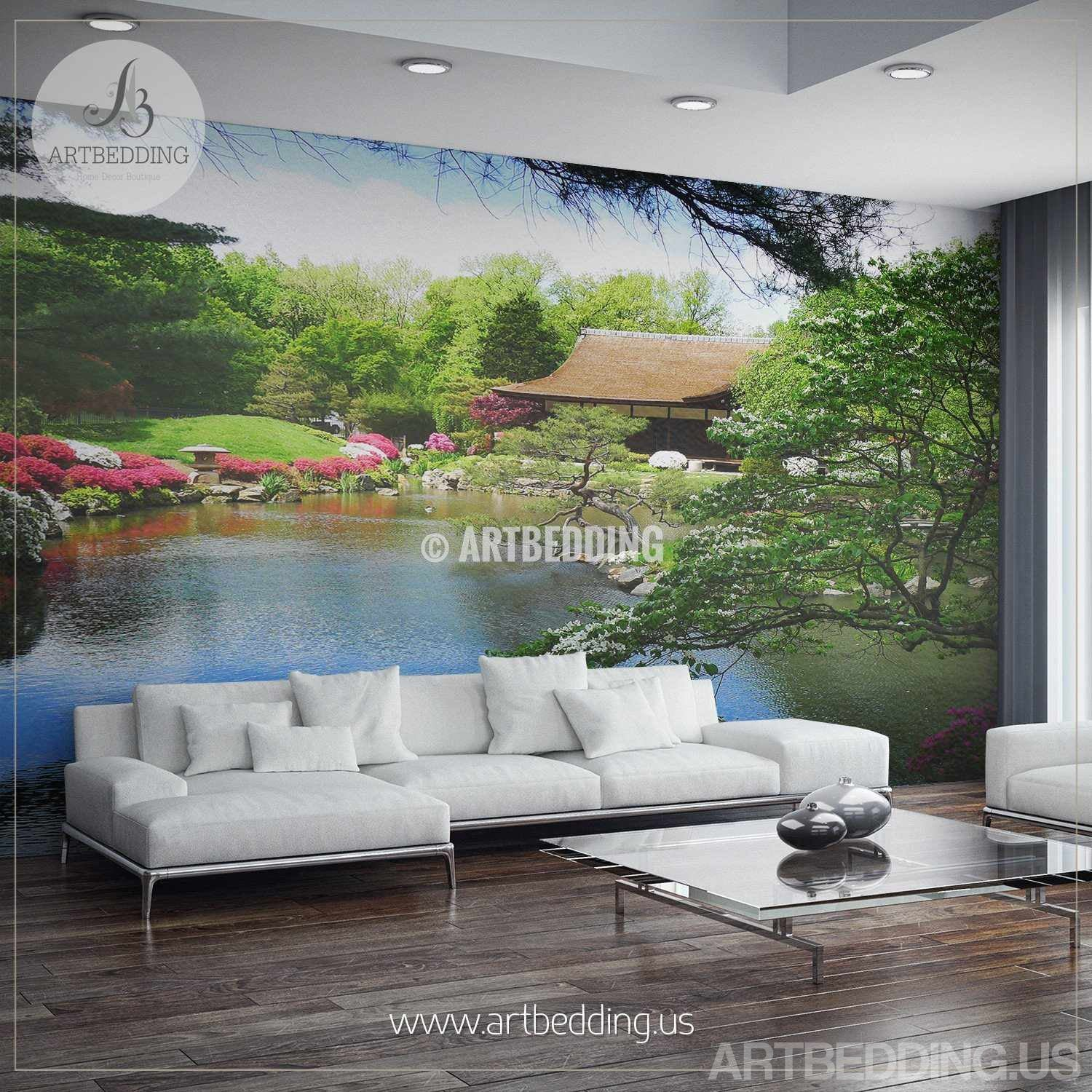 ... Japanese Garden Wall Mural, Photo Mural Japanese Tea House With Flowers  Self Adhesive Peel ...