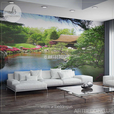 Japanese garden Wall Mural, Photo Mural Japanese tea house with flowers Self Adhesive Peel & Stick, Nature wall mural wall mural
