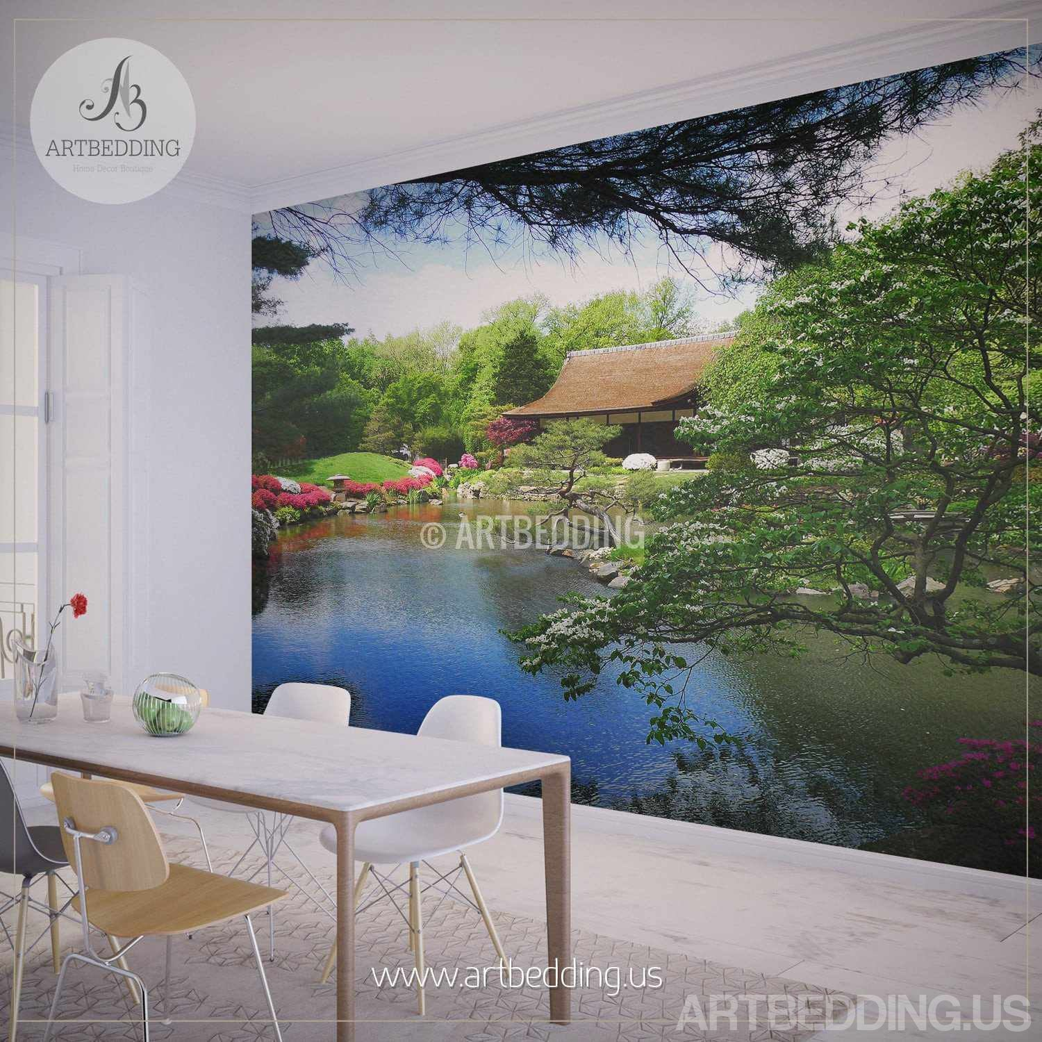 Japanese Garden Wall Mural Photo Mural Japanese Tea House With Flowers Self Adhesive Peel Stick Nature Wall Mural