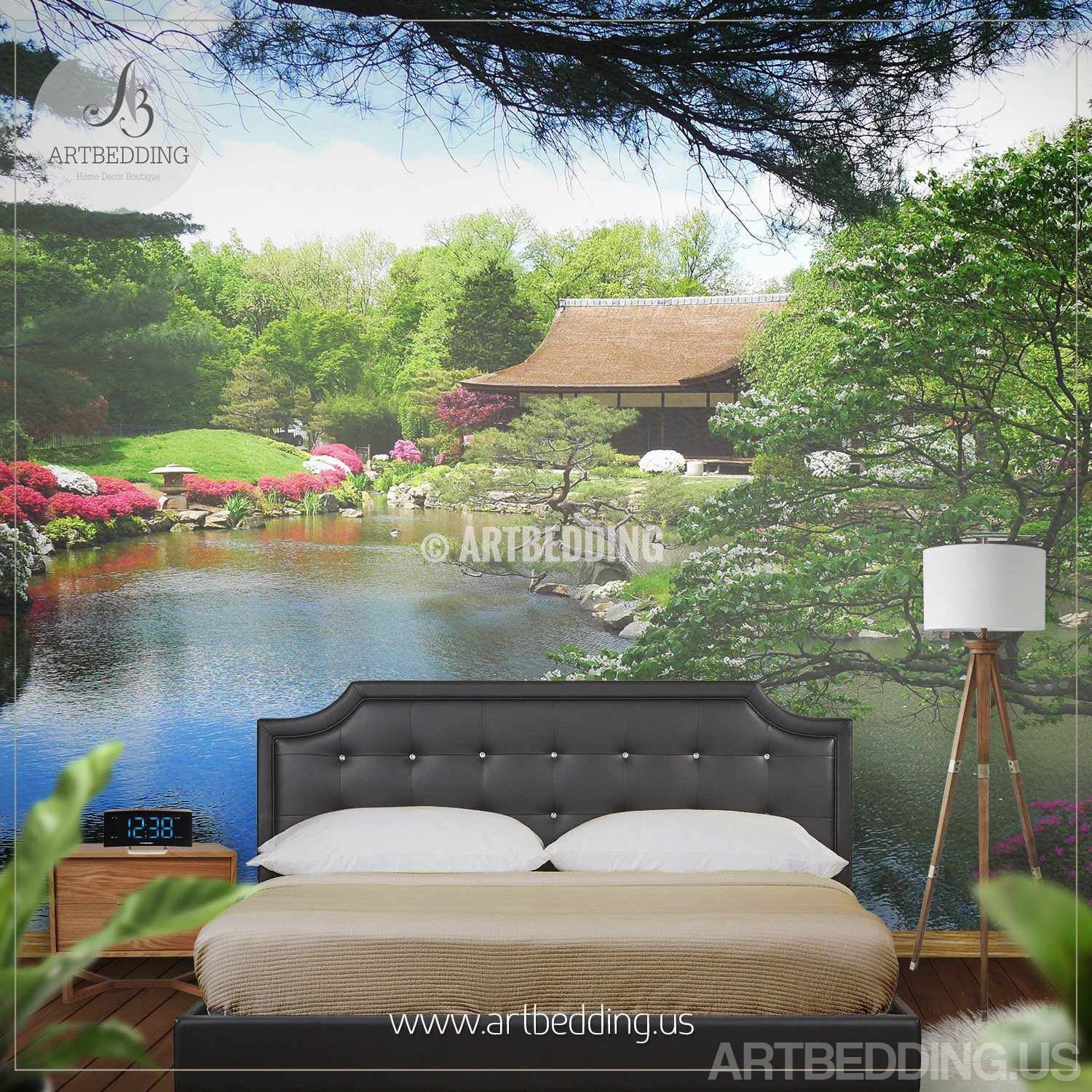Exceptionnel ... Japanese Garden Wall Mural, Photo Mural Japanese Tea House With Flowers  Self Adhesive Peel ...