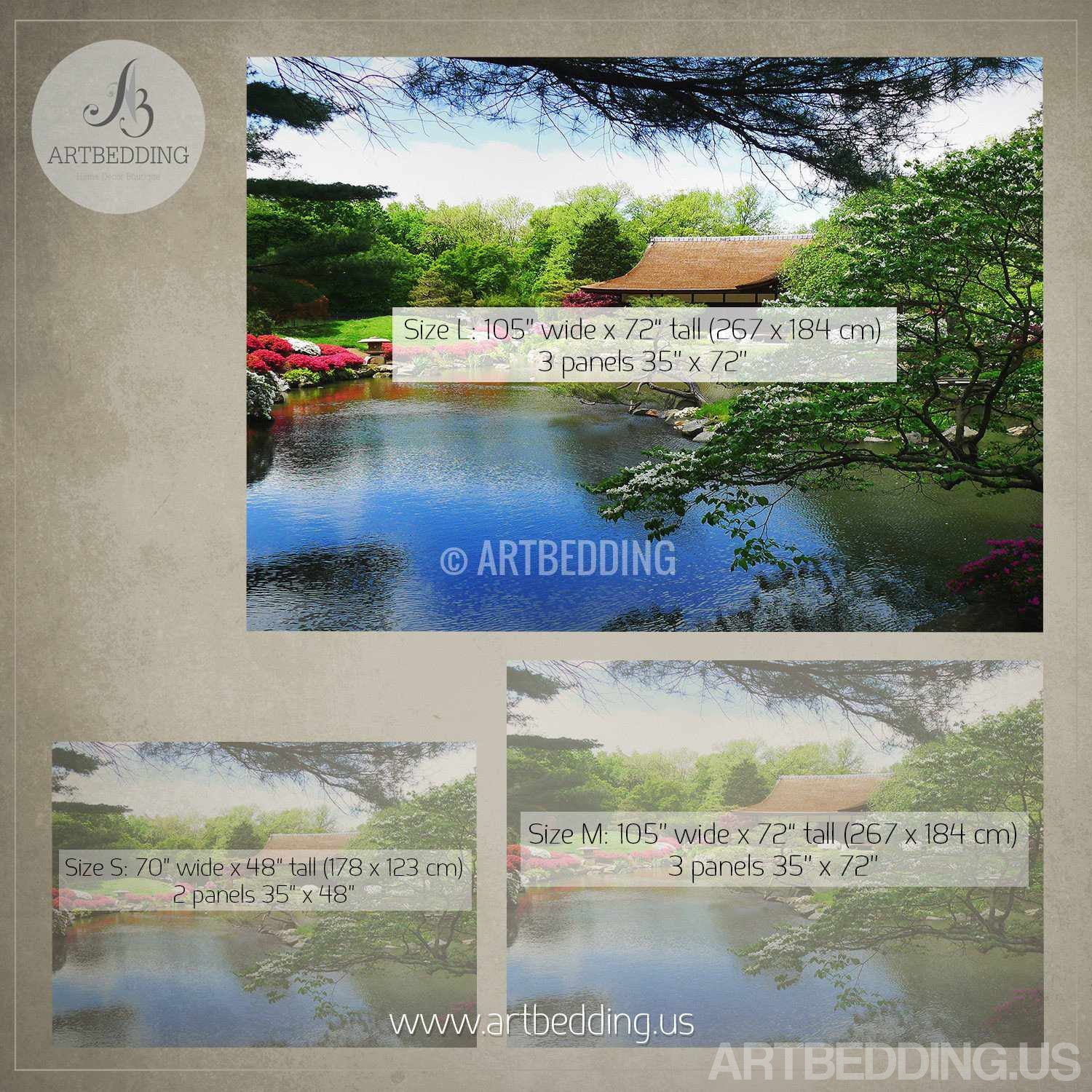 Japanese Garden Wall Mural, Photo Mural Japanese Tea House With Flowers  Self Adhesive Peel ...