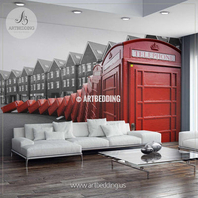 Kingston Telephone Boxes Wall Mural, Photo Mural, wall décor wall mural