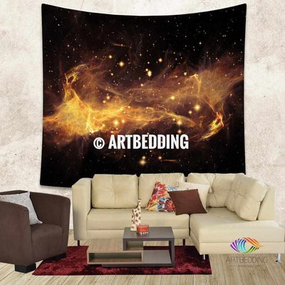 L size Galaxy Tapestry, 3D golden nebula with stars wall tapestry, Galaxy tapestry wall hanging, Stars galaxy wall tapestries, Galaxy home decor, galaxy wall art Tapestry