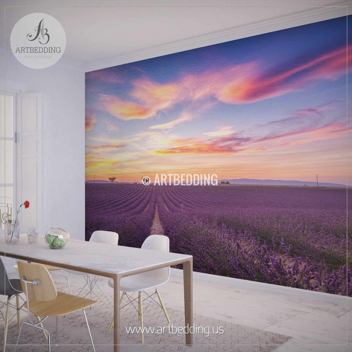 Lavender Field Summer Sunset Landscape Wall Mural, Photo mural Self Adhesive Peel & Stick, wall mural wall mural
