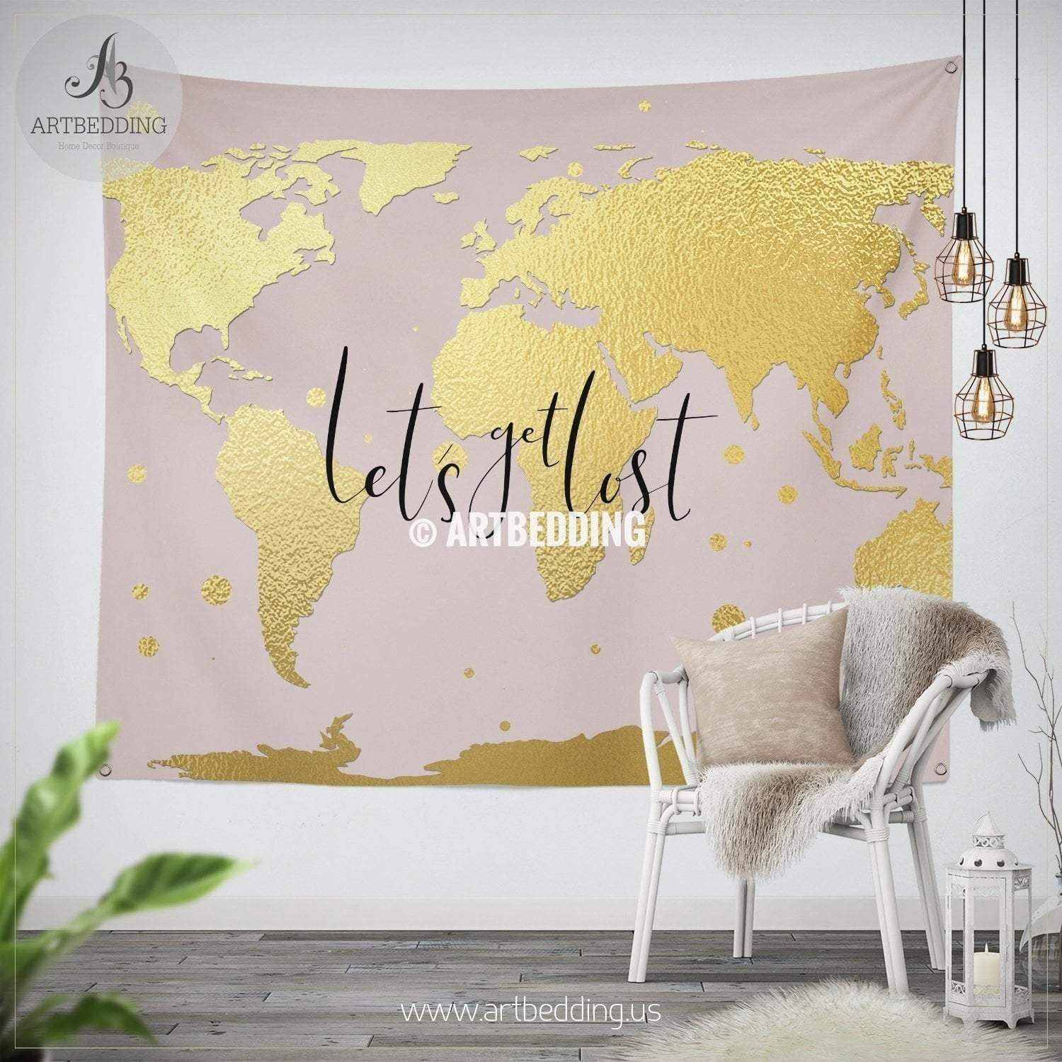 Let`s get lost gold world map wall Tapestry, Boho blush pink ...