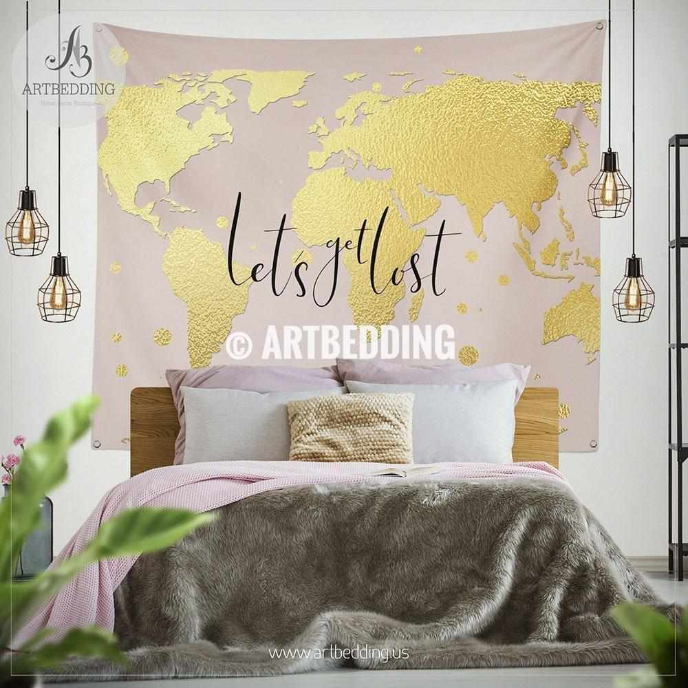 Let`s get lost gold world map wall Tapestry, Boho blush pink wanderlust world map wall hanging, bohemian wall tapestries, boho wall decor Tapestry