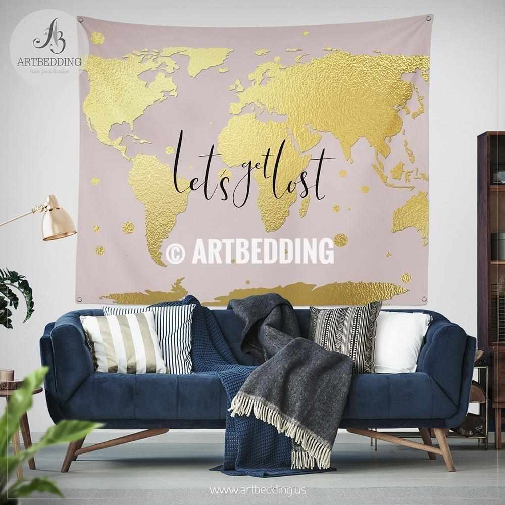 Lets get lost gold world map wall tapestry boho blush pink lets get lost gold world map wall tapestry boho blush pink wanderlust world gumiabroncs Image collections