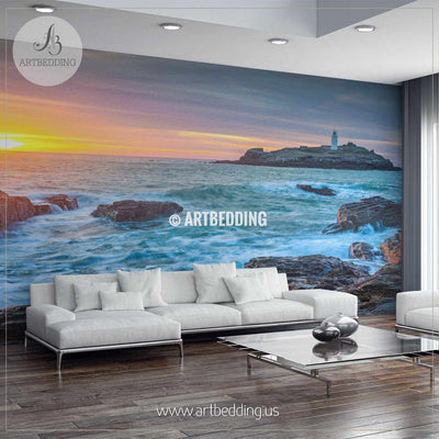 Lighthouse overlooking the sun setting on the horizon Wall Mural, Self Adhesive Peel & Stick wall mural wall mural