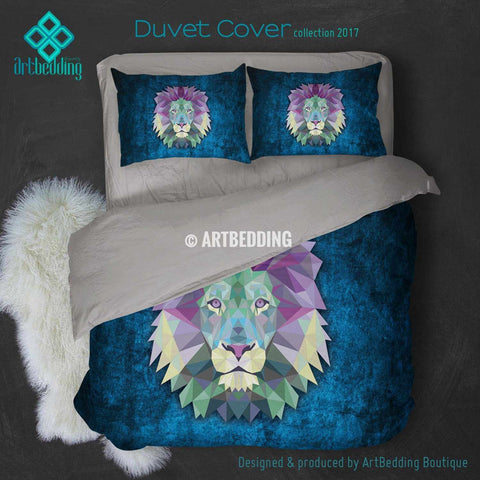 Lion Animal head geometry Duvet cover, Lion Animal totem duvet cover, Lion head animal duvet, custom designer duvet artbedding