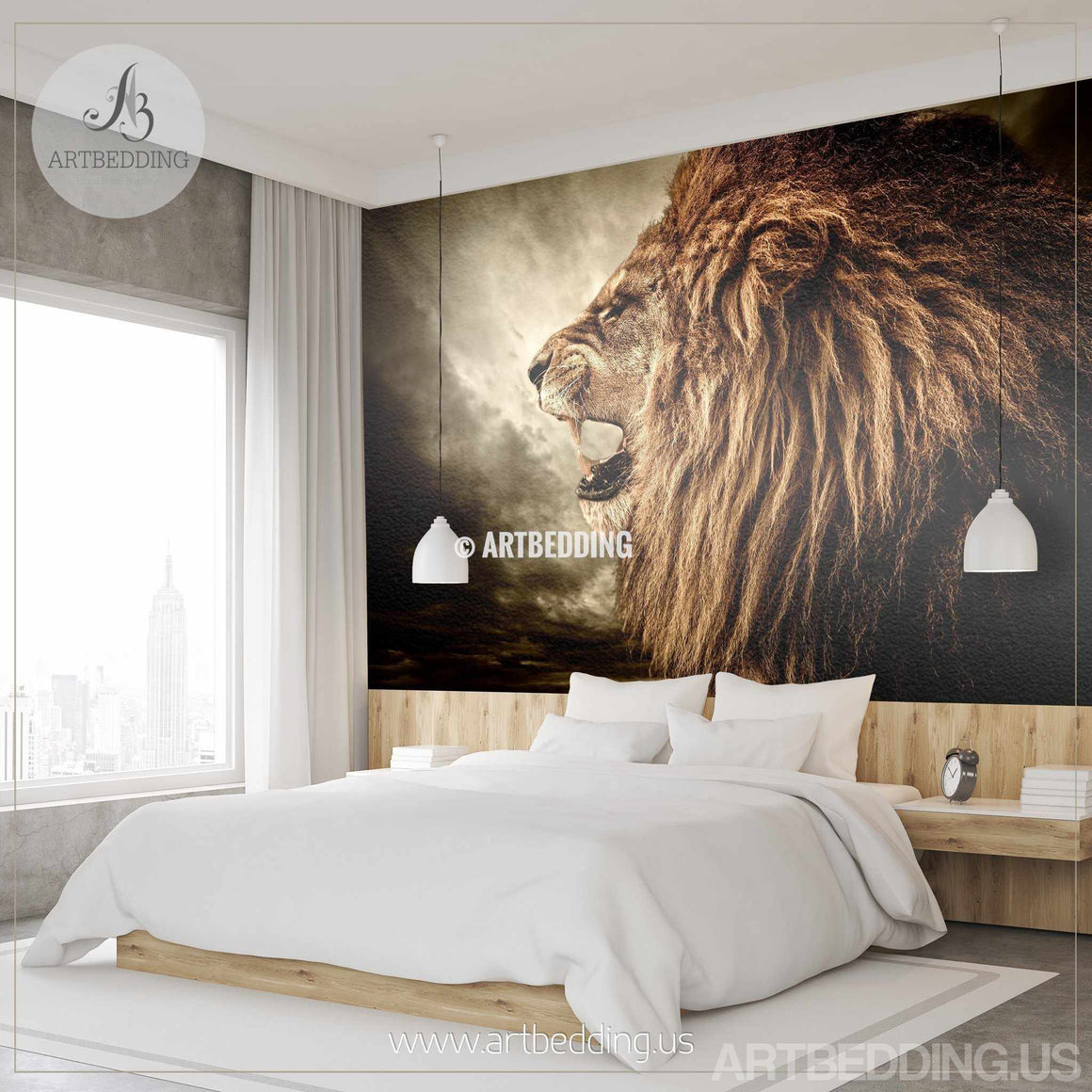 Lion Wall Mural, Wild lion e Self Adhesive Peel & Stick Photo Mural, African lion wallpaper wall mural