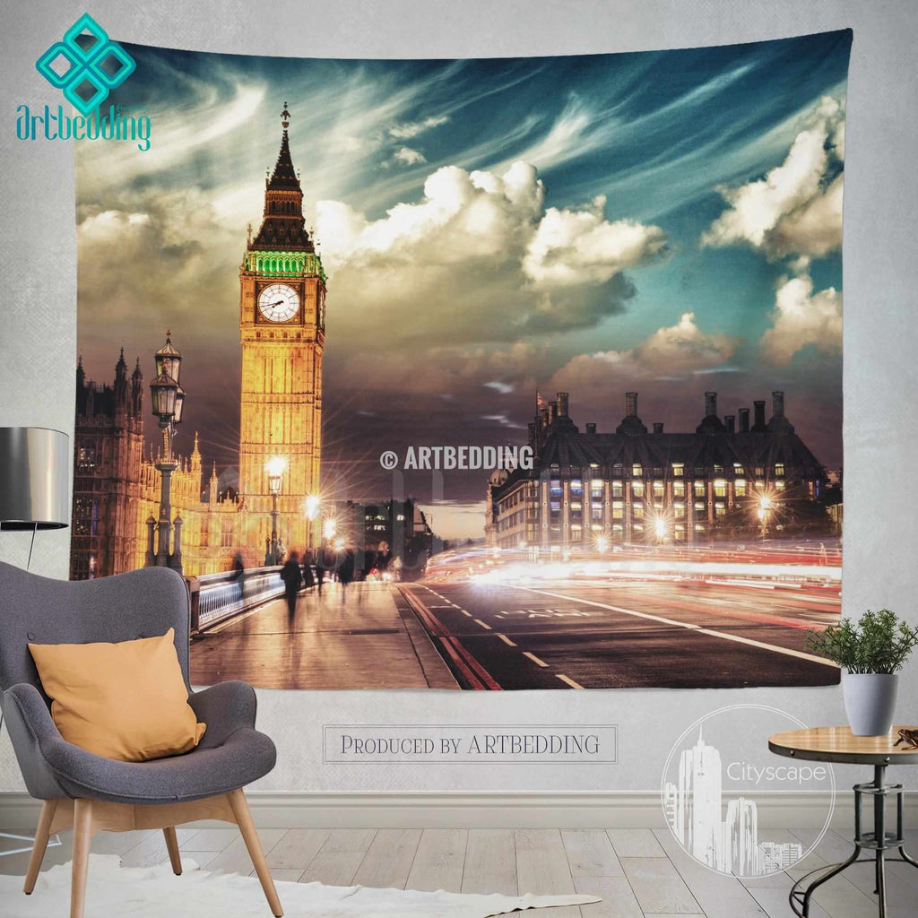 London Big Ben wall tapestry, Big Ben at dusk wall tapestry, London landmark wall decor, London clock tower at sunset wall interior, artbedding cityscape wall decor