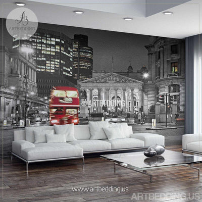 London in Black and Red Wall Mural, London City Photo Mural, London wall decor wall mural