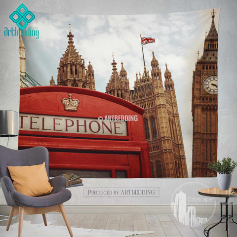 London landmarks wall tapestry, London landmarks retro wall tapestry, London collage wall decor, London retro view wall interior