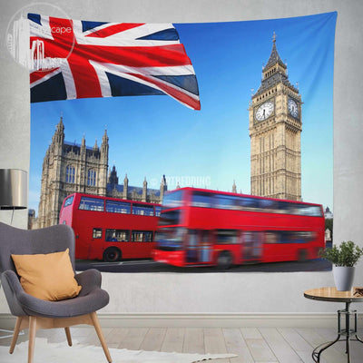 London landmarks wall tapestry, London landmarks wall tapestry, London collage wall decor, London view wall interior