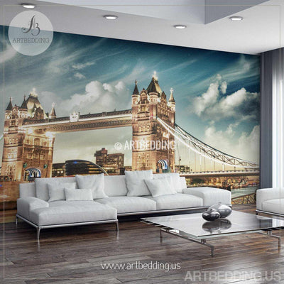 London Tower Bridge on sunset Wall Mural, London Tower Bridge Photo Mural, Sunset London wall decor wall mural