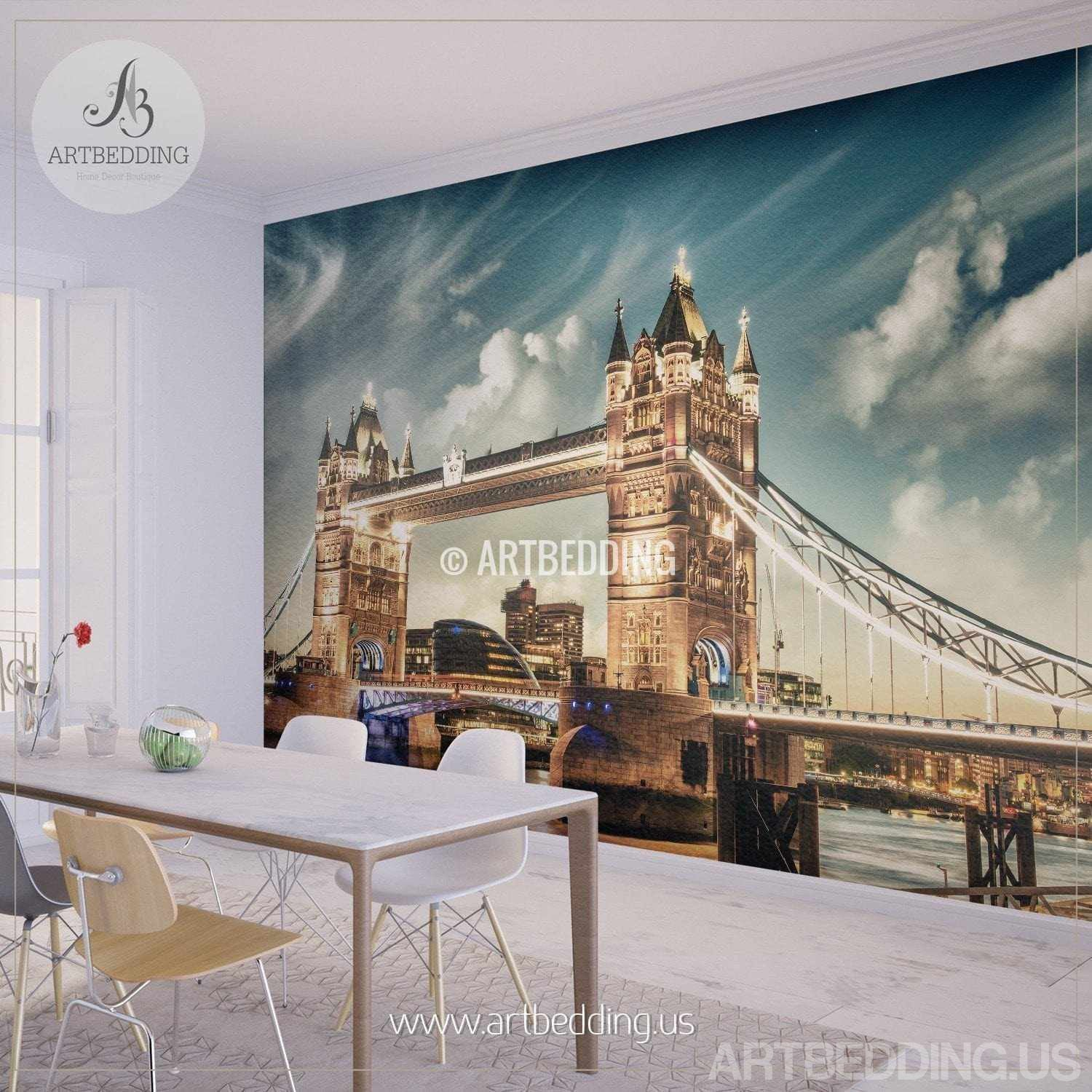 Wall murals peel and stick self adhesive vinyl hd print tagged london tower bridge on sunset wall mural london tower bridge photo mural sunset london amipublicfo Choice Image