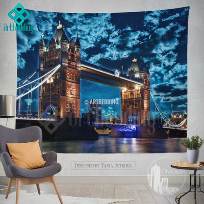 London Tower bridge wall tapestry, Tower bridge at night wall tapestry, London views wall decor, London famous building view wall interior, artbedding cityscape wall decor