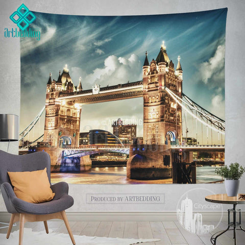 London Tower bridge wall tapestry, Tower bridge on sunset wall tapestry, London landmark wall decor, London famous building view wall interior, artbedding cityscape wall decor