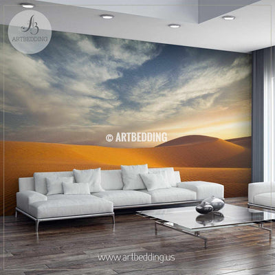 Lonely sand dunes under dramatic evening sunset sky Self Adhesive Peel & Stick, Nature wall mural wall mural