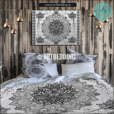 Lotus Flower duvet bedding set, Sacred Mandala duvet cover set, Bohemian bedding, boho bedroom decor, artbedding art Bedding set