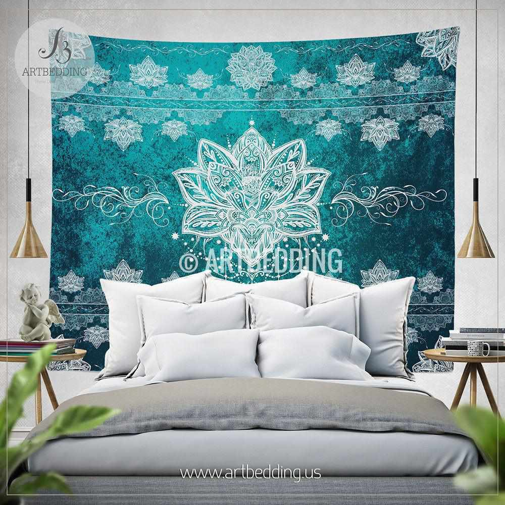 Lotus mandala Tapestry, Lotus mandala wall hanging, Spiritual lotus tapestry wall decor, Lotus bohemian wall tapestries, artbedding wall art Tapestry