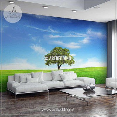 Lush Tree alone in Field with a Beautiful Blue Sky Wall Mural, Self Adhesive Peel & Stick wall mural wall mural