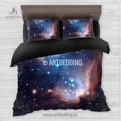 Magellanic cloud space bedding, Openluster of stars Bedding set, Deep space Galaxy Duvet Cover set, Space bedroom Bedding set